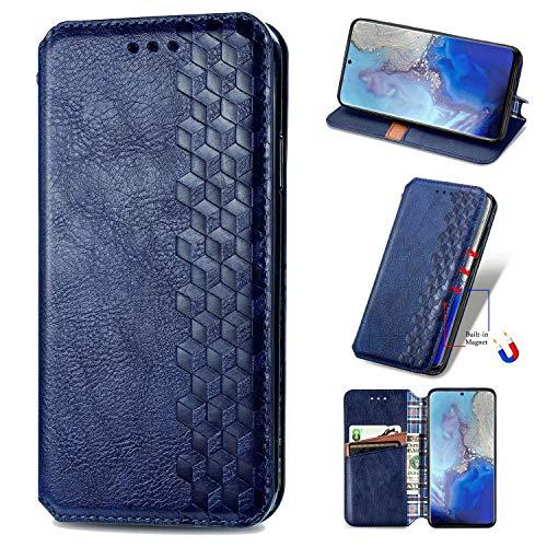 Miagon Samsung Galaxy S20 Ultra Mode Hülle,Retro PU Leder Flip Brieftasche Abdeckung Magnetverschluss Folio Ständer Kartensteckplätze Handyhülle,Blau