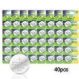 [40 Pack] Pila de Botón Litio IDESION Batería de Botón Puro Pack de Pilas de Litio CR-2032 3V 240mAh Luces LED, Relojes, Control Remoto, Libro Electrónico, Cámara, etc