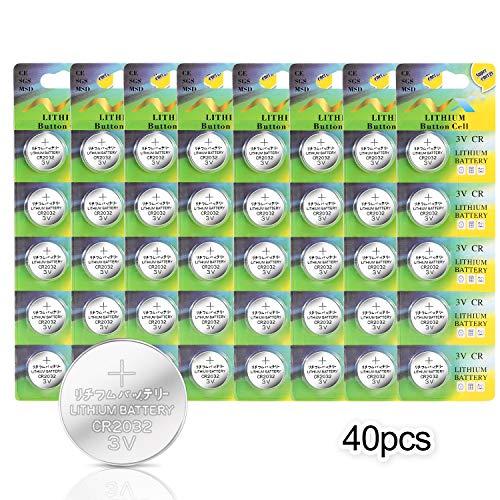 【40 Pezzi】CR2032 -IDESION Batteria Bottone al Litio 3V 240mAh Alkaline con l'ultimo Disegno Sicuro Per LED luci, Telecomando, Bilance, Fotocamera, Orologi ecc.
