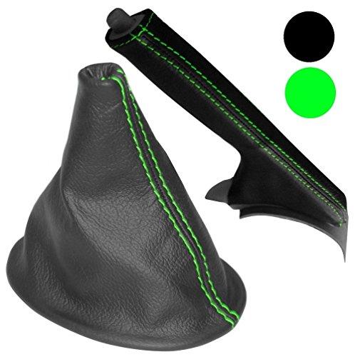 Aerzetix schakelzak en handrem van 100% echt leer, zwart, met groene naden