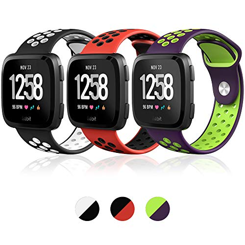 Hagibis Compatible Fitbit Versa Bands Sport Silicone Replacement Breathable Strap Bands New Fitbit Versa Smart Fitness Watch (Z-03 -C)