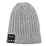Cuffia Bluetooth Beanie Hat Cuffie Auricolare Senza Fili Inverno Musica Altoparlante Cappello Maglia Running Cap con Altoparlanti Stereo Mic,Grigio