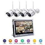 FLOUREON Système de Sécurité sans Fil 1080P Système de Caméra de Sécurité 4CH NVR...