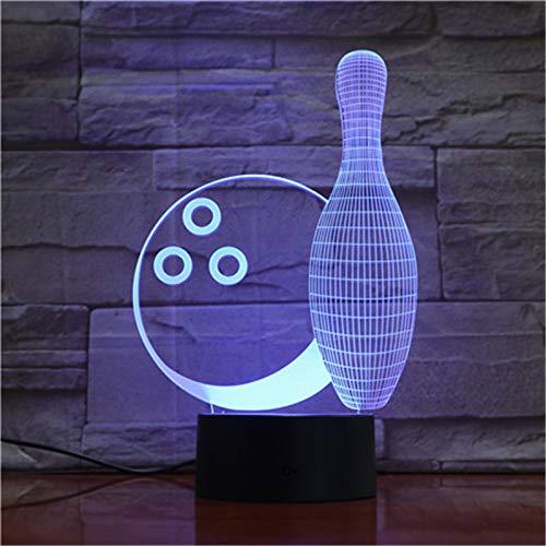 Bowling 3D-nachtlampje voor kinderen, in 7 kleuren, met afstandsbediening, sfeerlicht, vakantie en verjaardagscadeau voor jongens en meisjes