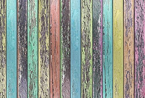 Fondo de fotografía de Retrato de Fiesta de cumpleaños de bebé recién Nacido con Suelo de Madera Vintage Colorido Estudio fotográfico A11 10x7ft / 3x2,2 m