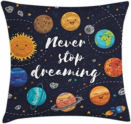 Ambesonne Saying Throw Pillow Cushion Cover Outer Space Planets Star Cluster Solar System Moon product image