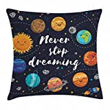 Ambesonne Saying Throw Pillow Cushion Cover, Outer Space Planets Star Cluster Solar System Moon Comets Sun Cosmos Illustration, Decorative Square Accent Pillow Case, 16' X 16', Navy Orange