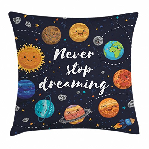 Ambesonne Saying Throw Pillow Cushion Cover, Outer Space Planets Star Cluster Solar System Moon Comets Sun Cosmos Illustration, Decorative Square Accent Pillow Case, 16