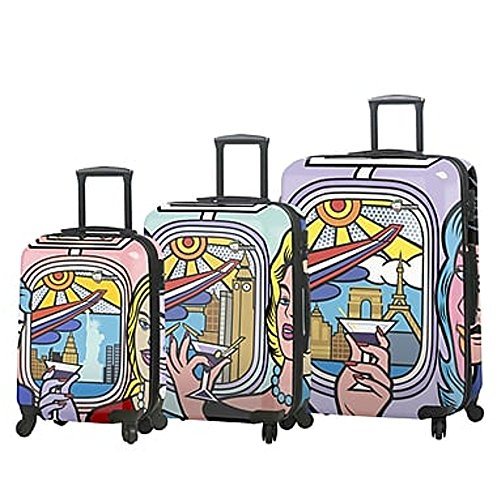 Lowest Prices! Mia Toro ITALY Jozza Airplane Hardside Spinner Luggage Set - 3 Piece [20, 24 & 28]