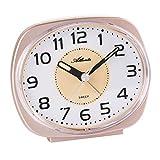 Atlanta Reloj despertador de cuarzo sin tic-tac, segundero lento, luz, alarma intermitente, cobre - 2141/18