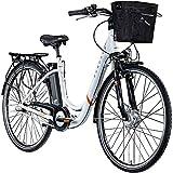 ZÜNDAPP E Damenrad 700c E-Bike Pedelec Z510 Citybike Elektrofahrrad 28' Fahrrad (weiß/orange, 48 cm)