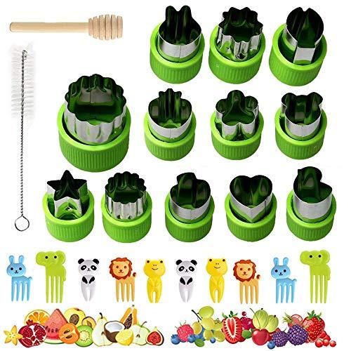 12 Stück Obst Gemüse Ausstechformen Set mit Komfortgriff, XCOZU Brot Ausstecher für Kinder, Cookie Cutter Plätzchen Ausstecher Edelstahl für Kuchen, Keks, Sandwich(10 Food Picks, Bürste, Stock)
