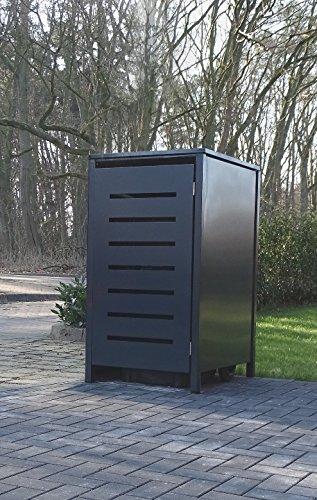 Srm-Design 1 Mülltonnenbox Modell No.6 für 240 Liter Mülltonnen/komplett Anthrazit RAL 7016 / witterungsbeständig durch Pulverbeschichtung/mit Klappdeckel und Fronttür