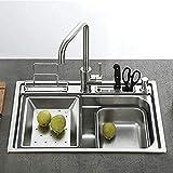 HomeLava Lavello da incasso Lavelli cucina una vasca, Lavello da incasso, Lavello da in acciaio inox spazzolato con troppopieno, Senza piombo, Protezione ambientale, 60 * 45 * 22cm (rubinetto incluso)