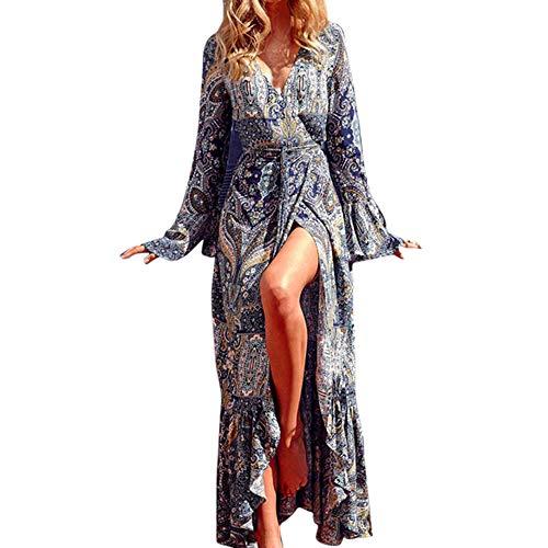 SHOBDW Mode Damen Herbst Jahrgang Boho Stil Floral Drucken Langarm Aufflackern Hülse V Ausschnitt Sexy Lang Maxikleid Strandkleid Abendkleid Cocktailkleid