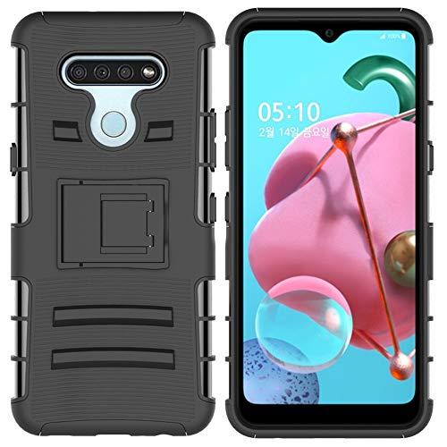 LWL House Caso para LG K51 Caja Protectora de teléfono móvil de buje Deslizante con Soporte (Color : Black)