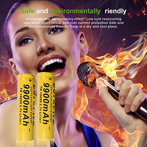 2/1 PC Gelb18650 Batterie 3.7V 9900Mah 18650 Hochleistungs Akku Wiederaufladbare Li-Ionen-BatterieButton Top Battery Pour für LED-Fernbedienung Elektronische Geräte Spielzeug Digitalkameras (2 Stück)