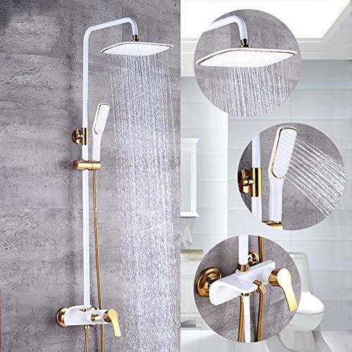BFDMY Weiß Gold Dusche Systeme Eckige Überkopfdusche Verstellbar Handbrause 360°Drehbar Regenbrause Duschstange Duscharmatur Duschset Lift-Typ Wanddusche Set Modernen Messing,Whiteshower