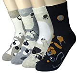 JJMax Women's Sweet Animal Socks Set with Thick Eared Cuffs One Size Fits All, Puppy Tummies, One Size