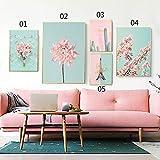bdrsjdsb Kirschblüte Blume Nordic Leinwand ungerahmt Malerei Poster Kaktus Wand Bild Dekor 3# 50 * 70 cm