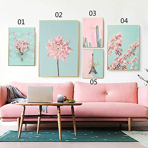 bdrsjdsb Kirschblüte Blume Nordic Leinwand ungerahmt Malerei Poster Kaktus Wand Bild Dekor 1# 50 * 70 cm