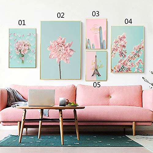bdrsjdsb Kirschblüte Blume Nordic Leinwand ungerahmt Malerei Poster Kaktus Wand Bild Dekor 3# 21 * 30 cm