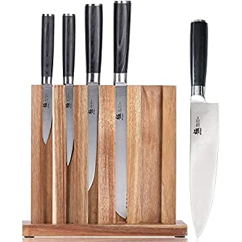 """KYOKU 5-Knife Set with Block 8"""" Chef Knife + 8"""" Bread Knife + 6.5"""" Carving Knife + 5"""" Utility Knife + 3.5"""" Paring Knife – Premium Japanese Steel Cutlery Kitchen Knives Set with Wooden Block"""