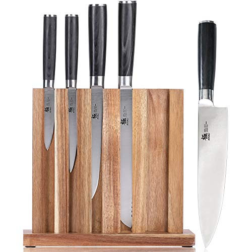 "KYOKU 5-Knife Set with Block, 8"" Chef Knife + 8"" Bread Knife + 6.5"" Carving Knife + 5"" Utility Knife + 3.5"" Paring Knife – Premium Japanese Steel Cutlery Kitchen Knives Set with Wooden Block"