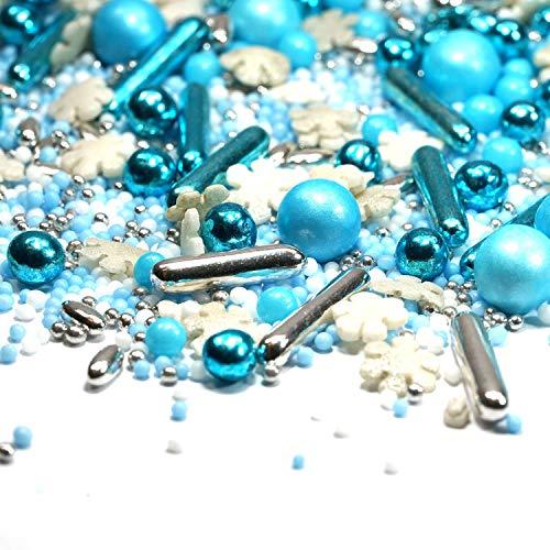 Streusel Eiszauber silber blau weiss Weihnachten 90g Zuckerstreusel Mix - my Sprinkles perfekt für Weihnachten Plätzchen Torte Kuchen Cupcakes Muffins Cakepops