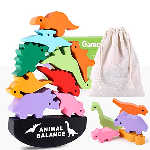 Toys for 4 5 6 7 Year Old, Wooden Blocks Stacking Toy for Boys and Girls, Dinosaur Balance Toys for Kids, Fine Motor Skill Toys, Best Christmas and Birthday Gifts for Children (Storage Bag Included)