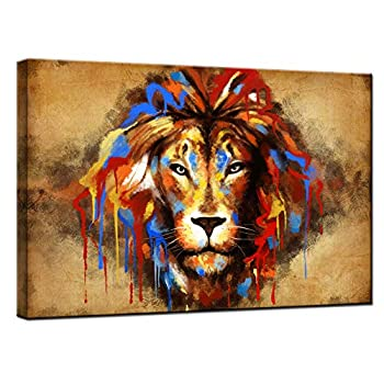 sechars Lion Painting Wall Art Color Abstract Animal Portrait Pictures Print on Canvas Vintage Home Living Room Man Bedroom Wall Decoration Stretched by Wooden Frame Ready to Hang 24x36
