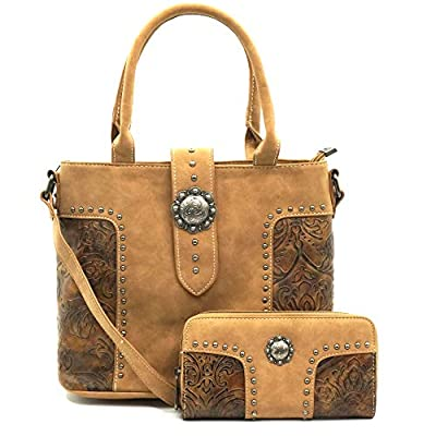 American Bling By Montana West Wallet and Purse 2 Piece Handbag Set For Women - Western Design AB-5604BR
