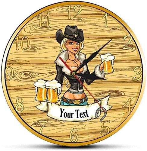 youmengying Co.,ltd Relojes De Pared Sexy Cowgirl con Vasos De Cerveza Custom Home Bar Family Name Reloj De Pared Craft Beer Drinks Cowgirl Reloj De Pared Personalizado -30X30Cm