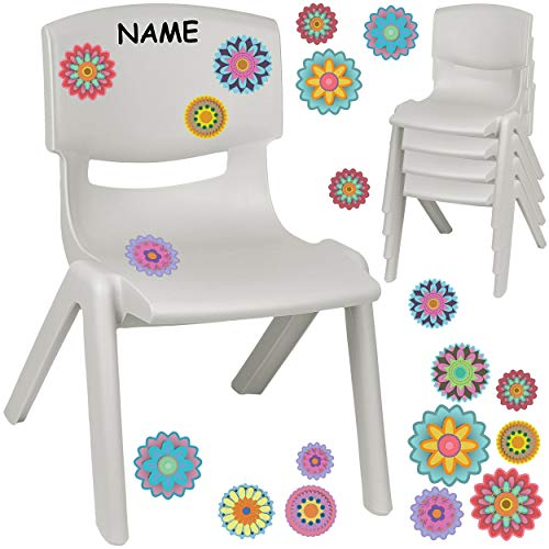 alles-meine.de GmbH Kinderstuhl / Stuhl - Motivwahl - grau - Silber + Sticker - Bunte Blumen & Blüten - inkl. Name - Plastik - bis 100 kg belastbar / kippsicher - für INNEN & AUß..