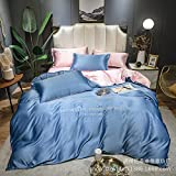 juegos de sábanas 160x200 verano,Sumo Tianshi Set de cuatro piezas, lavado de agua europeo Seda Extra Rey Diuvet Conjunto de soltero cama doble cama Bordado de cama, Dormitorio Regalo de la habitació