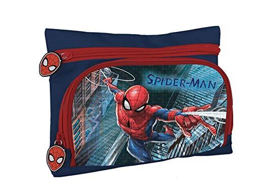 Astuccio Con 2 Tasche/Cerniere Spiderman
