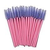 MyAoKuE-UP 100 Pack Eyelash Mascara Wands Disposable Lash Brushes for Extensions Makeup Applicator Tool, Pink/Purple…