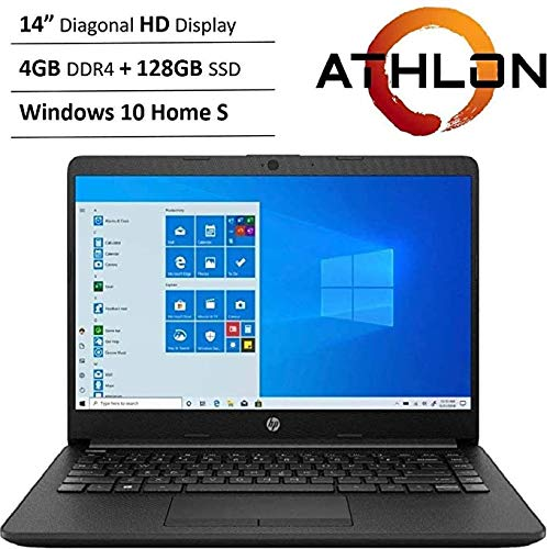 Newest HP 14' HD WLED Backlit High Performance Business Laptop, AMD Athlon Silver 3050U up to 3.2GHz, 4GB DDR4, 128GB SSD, Wireless-AC, HDMI, Bluetooth, Webcam, SD Card Reader, Windows 10 S