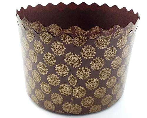 15 oz Panettone Paper Mold   12 Pack   Round Standard Non Stick Panettone Paper Bread Baking Molds - Brown Design W 5.1 x H 3.35-In by SHSH trade group