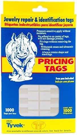 50pcs White rectangle jewellery tie on price labels size 23x13mm