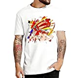 Dragon Ball Anime Camiseta para Hombre Cotton T Shirts Fashion Estampado Short Sleeve Crewneck Camiseta Tops Verano Casual Camisa Funny Knit Camiseta para Mujer Blanco XL