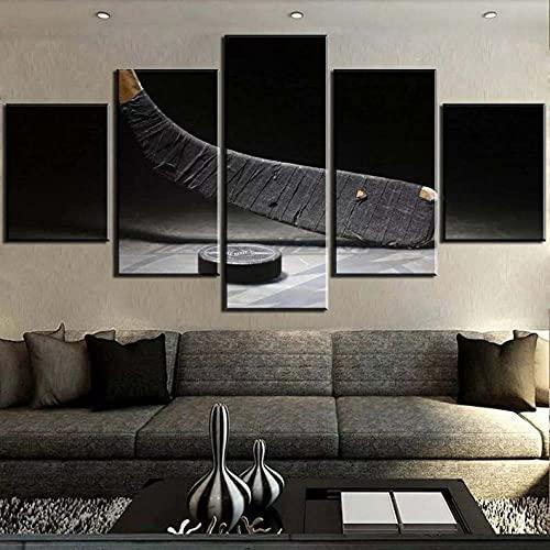 BHJIO 5 Piezas Cuadro sobre Lienzo Imagen Deportes, Palo De Hockey Impresión Pinturas Murales Decor Fotos para Salon Dormitorio Baño Comedor Regalo 80X150Cm