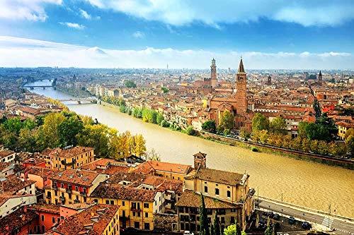 MTAMMD Puzzles Verona Italia Casas Ríos Sky Canal 500 1000 Piezas Rompecabezas De Paisaje De Madera para Adultos Rompecabezas para Niños Juguetes Educativos Regalos-1500Pieces