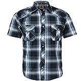 Coevals Club Men's Western Cowboy Short Sleeve Pearl Snap Casual Plaid Work Shirts (Black & Gray #9, M)