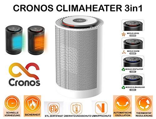 CRONOS CLIMAHEATER mini keramische ventilatorkachel, ventilator en airconditioning 3-in-1 - thermostaat, omvalbeveiliging, oververhittingsbeveiliging - 1200 W - verwarming baby radiator - voor badkamer badkamer luiertafel - wit