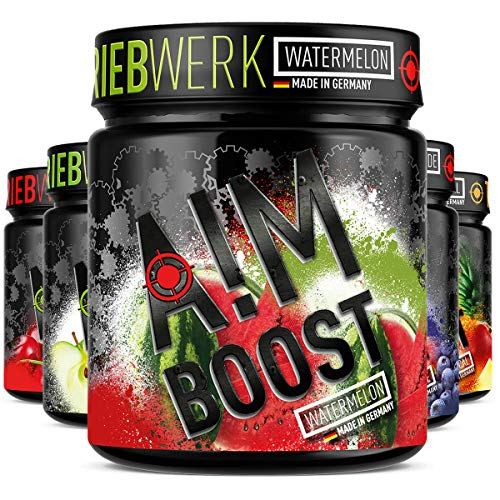 AIM BOOST | Watermelon | 40 Portionen | 23 Wirkstoffe | 247mg Koffein + Tyrosin +Theanin + Vitamine…
