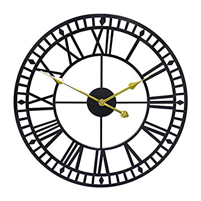 G-LEAF 24 Inch Metal Large Wall Clock Decorative,European Retro Clock Roman Numerals, Silent Battery Operated Metal Clock for Home, Living Room, Kitchen and Den