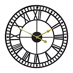 G-LEAF 30 Inch Metal Large Wall Clock Decorative,European Retro Clock Roman Numerals, Silent Battery Operated Metal Clock for Home, Living Room, Kitchen and Den
