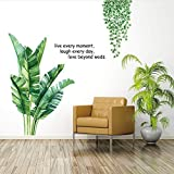 Green Plants Leaves Wall Decals, Live Laugh Love, Nature Palm Tree Leaf Plants Wall Sticker Art Murals,Removable DIY Wall Decor for Bedroom Living Room Offices Home, 39.3' W x47.2' H