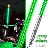 UTVJATV 4ft LED Whip Green Lights Waterproof Flag Pole Safety Antenna with Flag for Can Am Maverick X3 Sand Dune Buggy UTV ATV 2020 Polaris RZR XP 4X4 Offroad Truck 4 Wheels - 2PCS